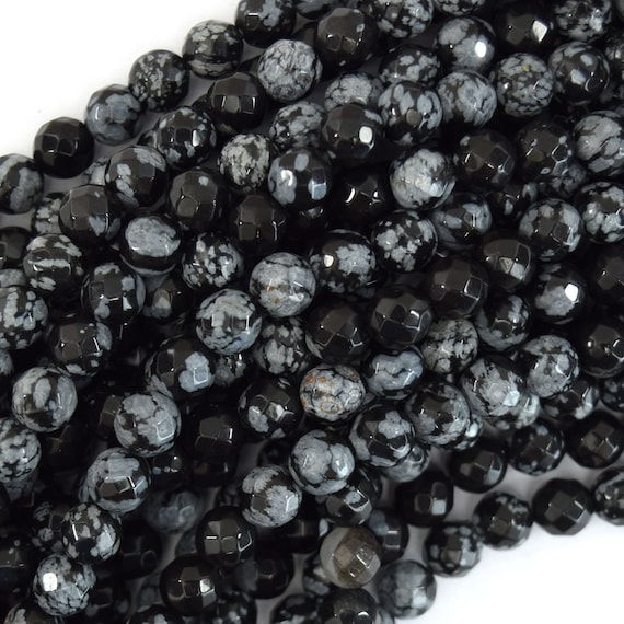 """Natural Faceted Black Snowflake Obsidian Round Beads 15"""" 4mm 6mm 8mm 10mm 12mm"""