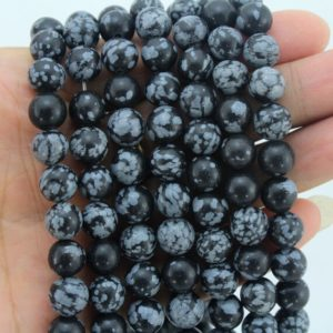 Shop Snowflake Obsidian Beads! Natural Snowflake Obsidian Beads , full Strand Snowflake Beads, gemstone Beads, 4mm, 6mm, 8mm, 10mm—-15-16 Inches–nf305 | Natural genuine beads Snowflake Obsidian beads for beading and jewelry making.  #jewelry #beads #beadedjewelry #diyjewelry #jewelrymaking #beadstore #beading #affiliate #ad