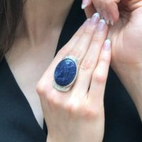 Sodalite Ring, Natural Sodalite, Statement Ring, Sagittarius Birthstone, Large Blue Stone Ring, Bohemian Ring, Massive Ring, 925 Silver Ring | Natural genuine Gemstone jewelry. Buy crystal jewelry, handmade handcrafted artisan jewelry for women.  Unique handmade gift ideas. #jewelry #beadedjewelry #beadedjewelry #gift #shopping #handmadejewelry #fashion #style #product #jewelry #affiliate #ad
