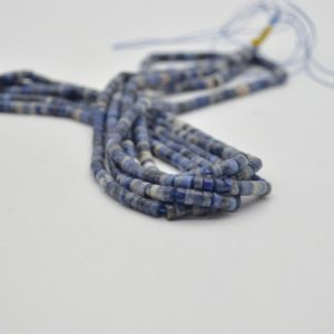 """Shop Sodalite Rondelle Beads! High Quality Grade A Natural Sodalite Semi-precious Gemstone Flat Heishi Rondelle / Disc Beads – Approx 4mm X 2mm – 15.5"""" Strand 