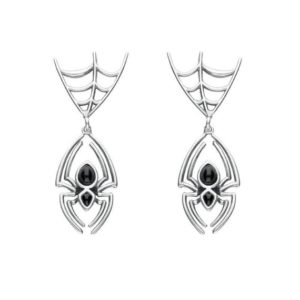 Shop Jet Earrings! Sterling Silver Whitby Jet Spider Web Top Earrings | Natural genuine Jet earrings. Buy crystal jewelry, handmade handcrafted artisan jewelry for women.  Unique handmade gift ideas. #jewelry #beadedearrings #beadedjewelry #gift #shopping #handmadejewelry #fashion #style #product #earrings #affiliate #ad