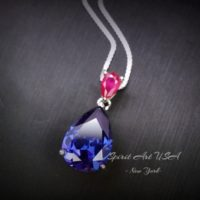 Teardrop Tanzanite Necklace – 7 Ct Blue Tanzanite Pendant – Sterling Silver – December Birthstone – 18kgp – Luxury Pear Cut Tanzanite Jewel | Natural genuine Gemstone jewelry. Buy crystal jewelry, handmade handcrafted artisan jewelry for women.  Unique handmade gift ideas. #jewelry #beadedjewelry #beadedjewelry #gift #shopping #handmadejewelry #fashion #style #product #jewelry #affiliate #ad