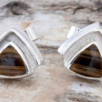 Tiger Eye Earrings – Triangle Stud Earrings – Sterling Silver Stud Earrings – Gemstone Stud Earrings – Handmade – Tiger Eye | Natural genuine Gemstone jewelry. Buy crystal jewelry, handmade handcrafted artisan jewelry for women.  Unique handmade gift ideas. #jewelry #beadedjewelry #beadedjewelry #gift #shopping #handmadejewelry #fashion #style #product #jewelry #affiliate #ad