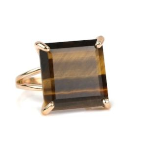Tiger Eye Ring · Square Ring · Rose Gold Ring · Large Princess Cut Ring · Tiger Eye Cocktail Ring · Gemstone Ring For Women · Mom Rings | Natural genuine Gemstone rings, simple unique handcrafted gemstone rings. #rings #jewelry #shopping #gift #handmade #fashion #style #affiliate #ad