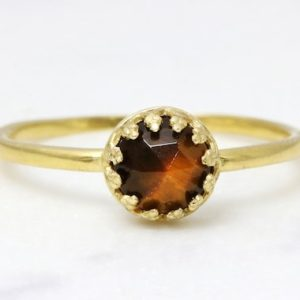 Delicate Tiger Eye Ring, tiny Gemstone Ring, gold Ring, tiger Eye Jewelry Ring, faceted Stone Ring, stacking Rings | Natural genuine Gemstone rings, simple unique handcrafted gemstone rings. #rings #jewelry #shopping #gift #handmade #fashion #style #affiliate #ad