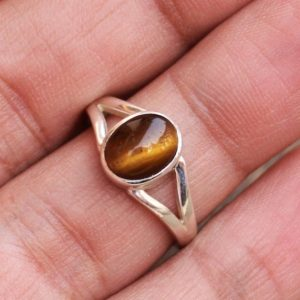 Shop Tiger Eye Rings! Tiger Eye Gemstone Sterling Silver Ring, Midi Ring, Gift For Her, Stack Rings, Anniversary Gift, Free Shipping, Natural Power Stone Jewelry   Natural genuine Tiger Eye rings, simple unique handcrafted gemstone rings. #rings #jewelry #shopping #gift #handmade #fashion #style #affiliate #ad