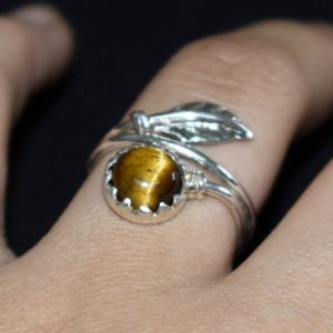 Shop Tiger Eye Rings! Tiger Eye Ring, tiger's Eye Ring, 925 Sterling Silver Ring, handmade Jewelry, natural Birthstone Ring, girls Ring, brown Stone Ring, christmas Gift   Natural genuine Tiger Eye rings, simple unique handcrafted gemstone rings. #rings #jewelry #shopping #gift #handmade #fashion #style #affiliate #ad
