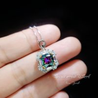 Dainty Cushion Mystic Topaz Necklace – Sterling Silver Diamond Square Halo Solitaire Royal Rainbow Topaz Jewelry | Natural genuine Gemstone jewelry. Buy crystal jewelry, handmade handcrafted artisan jewelry for women.  Unique handmade gift ideas. #jewelry #beadedjewelry #beadedjewelry #gift #shopping #handmadejewelry #fashion #style #product #jewelry #affiliate #ad