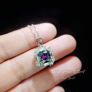 Shop Topaz Necklaces! Dainty Cushion Mystic Topaz Necklace – Sterling Silver Diamond Square Halo Solitaire Royal Rainbow Topaz Jewelry | Natural genuine Topaz necklaces. Buy crystal jewelry, handmade handcrafted artisan jewelry for women.  Unique handmade gift ideas. #jewelry #beadednecklaces #beadedjewelry #gift #shopping #handmadejewelry #fashion #style #product #necklaces #affiliate #ad