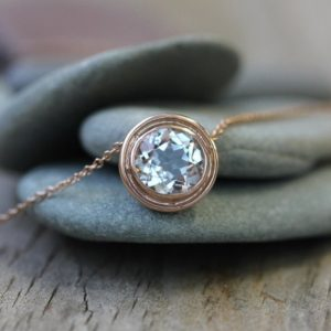 Shop Topaz Necklaces! Rose Gold and White Topaz HALO Slide Necklace | Natural genuine Topaz necklaces. Buy crystal jewelry, handmade handcrafted artisan jewelry for women.  Unique handmade gift ideas. #jewelry #beadednecklaces #beadedjewelry #gift #shopping #handmadejewelry #fashion #style #product #necklaces #affiliate #ad