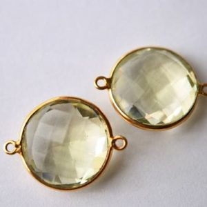 Shop Topaz Round Beads! Lemon Topaz Round Connector in vermeil 2 pieces   Natural genuine round Topaz beads for beading and jewelry making.  #jewelry #beads #beadedjewelry #diyjewelry #jewelrymaking #beadstore #beading #affiliate #ad