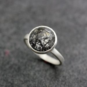 Limited Edition Black Tourmalated Quartz And Sterling Silver Ring, Satellite Setting Gemstone Solitaire | Natural genuine Gemstone rings, simple unique handcrafted gemstone rings. #rings #jewelry #shopping #gift #handmade #fashion #style #affiliate #ad