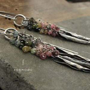 Sterling silver and  tourmaline – long earrings | Natural genuine Tourmaline earrings. Buy crystal jewelry, handmade handcrafted artisan jewelry for women.  Unique handmade gift ideas. #jewelry #beadedearrings #beadedjewelry #gift #shopping #handmadejewelry #fashion #style #product #earrings #affiliate #ad