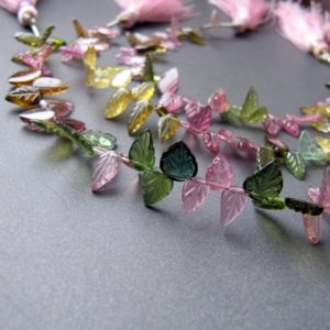 Tourmaline Carved Leaves •6-10mm •nearly Eye Clean – Amazing • Aaa Hand Carved Leaf Drops • Pink Green Yellow Teal Blue • Vivid Colours | Natural genuine other-shape Gemstone beads for beading and jewelry making.  #jewelry #beads #beadedjewelry #diyjewelry #jewelrymaking #beadstore #beading #affiliate #ad