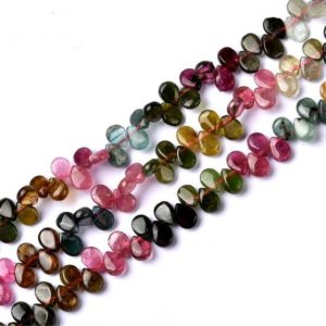 Gemstone Briolette Beads, Smooth Genuine High Quality Tourmaline Water Drop Beads, Full Strand Teardrop Beads for DIY Jewelry | Natural genuine other-shape Tourmaline beads for beading and jewelry making.  #jewelry #beads #beadedjewelry #diyjewelry #jewelrymaking #beadstore #beading #affiliate #ad