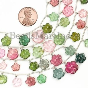 Multi Tourmaline Flower Carving Beads, Multi Tourmaline Beads, Multi Tourmaline Fancy Beads, Flower carving Beads, Tourmaline Carving Beads | Natural genuine other-shape Tourmaline beads for beading and jewelry making.  #jewelry #beads #beadedjewelry #diyjewelry #jewelrymaking #beadstore #beading #affiliate #ad