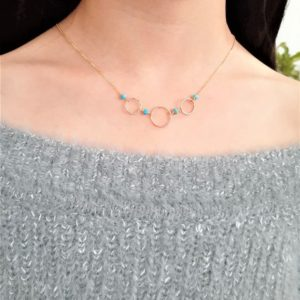 Shop Turquoise Jewelry! Worn On Law And Order Svu, Natural Turquoise Necklace / December Birthstone Necklace / Delicate Hoop Necklace, Dainty Layering Necklace   Natural genuine Turquoise jewelry. Buy crystal jewelry, handmade handcrafted artisan jewelry for women.  Unique handmade gift ideas. #jewelry #beadedjewelry #beadedjewelry #gift #shopping #handmadejewelry #fashion #style #product #jewelry #affiliate #ad