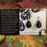 Victorian Jet Gemstone Coal Lignite Sterling Silver Teardrop Earrings | Natural genuine Gemstone jewelry. Buy crystal jewelry, handmade handcrafted artisan jewelry for women.  Unique handmade gift ideas. #jewelry #beadedjewelry #beadedjewelry #gift #shopping #handmadejewelry #fashion #style #product #jewelry #affiliate #ad