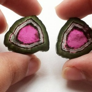 Shop Watermelon Tourmaline Beads! 20x23mm Rare Watermelon Tourmaline Rough Slices, OOAK Matched Pair Watermelon Tourmaline Slice, 2 Pcs  Loose Tourmaline For Jewelry – KS5079 | Natural genuine chip Watermelon Tourmaline beads for beading and jewelry making.  #jewelry #beads #beadedjewelry #diyjewelry #jewelrymaking #beadstore #beading #affiliate #ad