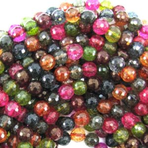 """Shop Watermelon Tourmaline Beads! 8mm faceted watermelon tourmaline quartz round beads 15.5"""" strand 31355 