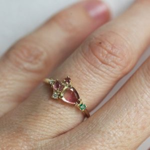 Shop Watermelon Tourmaline Jewelry! Watermelon Tourmaline Ring Cluster Yellow Gold | Natural genuine Watermelon Tourmaline jewelry. Buy crystal jewelry, handmade handcrafted artisan jewelry for women.  Unique handmade gift ideas. #jewelry #beadedjewelry #beadedjewelry #gift #shopping #handmadejewelry #fashion #style #product #jewelry #affiliate #ad