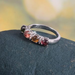 Shop Watermelon Tourmaline Rings! Watermelon Tourmaline Ring, Dainty Art Deco Ring, Delicate Statement Ring, Half Eternity Ring, 925 Sterling Silver, Handmade Ring For Women | Natural genuine Watermelon Tourmaline rings, simple unique handcrafted gemstone rings. #rings #jewelry #shopping #gift #handmade #fashion #style #affiliate #ad