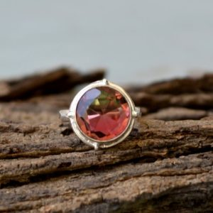 Shop Watermelon Tourmaline Rings! Watermelon Tourmaline Quartz Ring, 925 Sterling Silver Ring, Round Quartz Ring, Birthstone Handmade Gift Ring, Designer Tourmaline Quartz | Natural genuine Watermelon Tourmaline rings, simple unique handcrafted gemstone rings. #rings #jewelry #shopping #gift #handmade #fashion #style #affiliate #ad