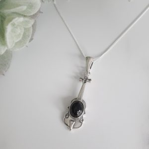 """Shop Jet Pendants! Whitby Jet & Sterling Silver Large Guitar Pendant and 18"""" Fine Curb Chain. Yorkshire Souvenir. Gift. Ladies Jewellery, Gemstone Jewelery.   Natural genuine Jet pendants. Buy crystal jewelry, handmade handcrafted artisan jewelry for women.  Unique handmade gift ideas. #jewelry #beadedpendants #beadedjewelry #gift #shopping #handmadejewelry #fashion #style #product #pendants #affiliate #ad"""