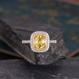Yellow Sapphire Engagement Ring White Gold Cushion Cut Engagement Ring Yellow Diamond Double Halo Bridal Wedding Ring Art Deco Gift For Her | Natural genuine Gemstone rings, simple unique alternative gemstone engagement rings. #rings #jewelry #bridal #wedding #jewelryaccessories #engagementrings #weddingideas #affiliate #ad