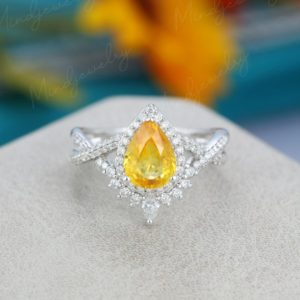 Pear Shaped Yellow Sapphire Engagement Ring White Gold Unique Vintage Engagement Ring For Women Twisted Diamond Wedding Bridal Promise Gift | Natural genuine Array rings, simple unique alternative gemstone engagement rings. #rings #jewelry #bridal #wedding #jewelryaccessories #engagementrings #weddingideas #affiliate #ad
