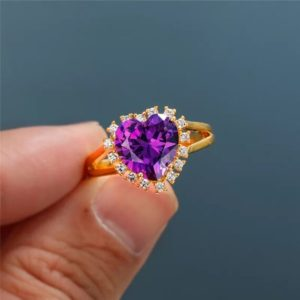 Shop Zircon Rings! Purple Heart Ring   Dainty Heart Ring   Gift For Love   Anniversary Ring   Purple Stone Ring   Zircon Ring   Gold Color Ring     Natural genuine Zircon rings, simple unique handcrafted gemstone rings. #rings #jewelry #shopping #gift #handmade #fashion #style #affiliate #ad
