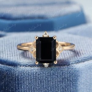 3CT Emerald Cut Black Onyx Engagement Ring Art Deco Moissanite 14k Yellow Gold Engagament Ring Vintage Bridal Anniversary Ring for Women/Her   Natural genuine Array rings, simple unique alternative gemstone engagement rings. #rings #jewelry #bridal #wedding #jewelryaccessories #engagementrings #weddingideas #affiliate #ad