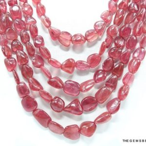Shop Ruby Chip & Nugget Beads! 5 Strand Natural Ruby Tumble Shape Beads Necklace, Natural Ruby Nugget Beads, Natural Ruby Jewelry, Ruby Bead Necklace 1134 Carat. | Natural genuine chip Ruby beads for beading and jewelry making.  #jewelry #beads #beadedjewelry #diyjewelry #jewelrymaking #beadstore #beading #affiliate #ad
