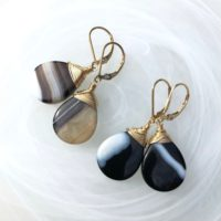 Agate Earrings Gold Filled Wire Wrapped Natural Black Brown White Stone Everyday Classic Statement Dangle Drops Birthday Holiday Gift 6517 | Natural genuine Gemstone jewelry. Buy crystal jewelry, handmade handcrafted artisan jewelry for women.  Unique handmade gift ideas. #jewelry #beadedjewelry #beadedjewelry #gift #shopping #handmadejewelry #fashion #style #product #jewelry #affiliate #ad