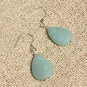 Shop Amazonite Earrings! Earrings 925 Silver – Amazonite drops 18x13mm | Natural genuine Amazonite earrings. Buy crystal jewelry, handmade handcrafted artisan jewelry for women.  Unique handmade gift ideas. #jewelry #beadedearrings #beadedjewelry #gift #shopping #handmadejewelry #fashion #style #product #earrings #affiliate #ad