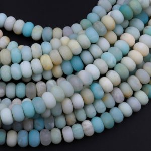 """Shop Amazonite Rondelle Beads! Matte Blue Green Amazonite Rondelle 6mm 8mm Beads Natural 15.5"""" Strand 