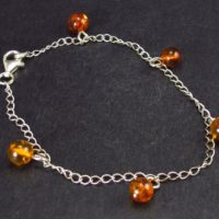 """Nature's Time Capsule!! Daisy 925 Silver Chain Bracelet With Natural Cognac Color Baltic Amber – 7.5"""" 