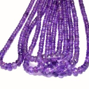 Shop Amethyst Faceted Beads! Aaa+ Amethyst 5mm-8mm Graduating Faceted Rondelle Beads   18inch Strand-130carats   Natural African Amethyst Semi Precious Gemstone Rondelle   Natural genuine faceted Amethyst beads for beading and jewelry making.  #jewelry #beads #beadedjewelry #diyjewelry #jewelrymaking #beadstore #beading #affiliate #ad