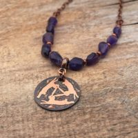 Copper Celtic Rabbits Necklace With Faceted Amethyst Beads, Etched Metal, 20 1 / 4 Inches Long | Natural genuine Gemstone jewelry. Buy crystal jewelry, handmade handcrafted artisan jewelry for women.  Unique handmade gift ideas. #jewelry #beadedjewelry #beadedjewelry #gift #shopping #handmadejewelry #fashion #style #product #jewelry #affiliate #ad