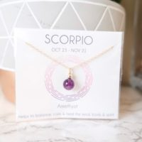 Scorpio Birthstone Necklace, Amethyst Necklace, Minimalist Necklace, Gift For Girlfriend, Astrology Necklace, Zodiac Necklace | Natural genuine Gemstone jewelry. Buy crystal jewelry, handmade handcrafted artisan jewelry for women.  Unique handmade gift ideas. #jewelry #beadedjewelry #beadedjewelry #gift #shopping #handmadejewelry #fashion #style #product #jewelry #affiliate #ad