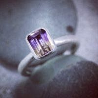 Ametrine Ring, Octagon Stacking Ring Or Solitiare, Satin Silver Bezel Setting, Custom Birthstone Jewelry | Natural genuine Gemstone jewelry. Buy crystal jewelry, handmade handcrafted artisan jewelry for women.  Unique handmade gift ideas. #jewelry #beadedjewelry #beadedjewelry #gift #shopping #handmadejewelry #fashion #style #product #jewelry #affiliate #ad