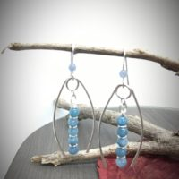 Angelite Earrings, Silver & Blue Earrings, Long Dangle Earrings, Boho Earrings, Hippy Earrings, Aquarius Birthstone, Birthday Gift For Her | Natural genuine Gemstone jewelry. Buy crystal jewelry, handmade handcrafted artisan jewelry for women.  Unique handmade gift ideas. #jewelry #beadedjewelry #beadedjewelry #gift #shopping #handmadejewelry #fashion #style #product #jewelry #affiliate #ad