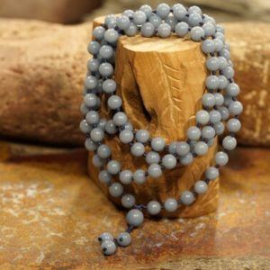 Shop Angelite Necklaces! Angelite Mala • Angelite Necklace • Blue Mala • 8mm • Gift for Her • 3695   Natural genuine Angelite necklaces. Buy crystal jewelry, handmade handcrafted artisan jewelry for women.  Unique handmade gift ideas. #jewelry #beadednecklaces #beadedjewelry #gift #shopping #handmadejewelry #fashion #style #product #necklaces #affiliate #ad