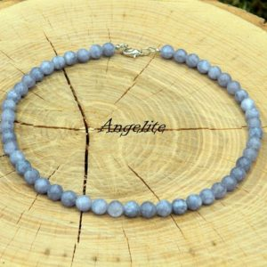 Shop Angelite Necklaces! Angelite Necklace, Women Necklace, Choker, Beach Choker, Surfer Necklace, Beaded Necklace, Simple Necklace, Gemstone Necklace, Gift For Her   Natural genuine Angelite necklaces. Buy crystal jewelry, handmade handcrafted artisan jewelry for women.  Unique handmade gift ideas. #jewelry #beadednecklaces #beadedjewelry #gift #shopping #handmadejewelry #fashion #style #product #necklaces #affiliate #ad