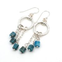 """Ring And Chain Earrings, Semiprecious Stone Apatite Beads, Silver French Hooks, Teal, 2 1 / 2"""" Long 