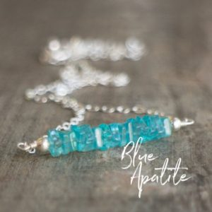 Shop Apatite Necklaces! Blue Apatite Necklace, Gemstone Bar Necklace, Layering Necklace, Gifts For Bridesmaids | Natural genuine Apatite necklaces. Buy crystal jewelry, handmade handcrafted artisan jewelry for women.  Unique handmade gift ideas. #jewelry #beadednecklaces #beadedjewelry #gift #shopping #handmadejewelry #fashion #style #product #necklaces #affiliate #ad