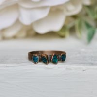 Raw Blue Apatite Ring, Ready To Ship, Us Size 9.5, Electroformed Ring, Multi Stone Jewelry, Stacking Ring, Birthstone Jewelry, Boho Ring | Natural genuine Gemstone jewelry. Buy crystal jewelry, handmade handcrafted artisan jewelry for women.  Unique handmade gift ideas. #jewelry #beadedjewelry #beadedjewelry #gift #shopping #handmadejewelry #fashion #style #product #jewelry #affiliate #ad