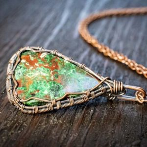 Azurite Copper Pendant Necklace – Large Crystal Healing Necklace, Wire Wrapped Jewelry Pendant. – Gifts For Her – Gifts For Him | Natural genuine Azurite pendants. Buy crystal jewelry, handmade handcrafted artisan jewelry for women.  Unique handmade gift ideas. #jewelry #beadedpendants #beadedjewelry #gift #shopping #handmadejewelry #fashion #style #product #pendants #affiliate #ad