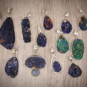Shop Azurite Pendants! Intuition Raw Natural Blue Azurite Malachite Rough Druzy Crystal Gemstone Pendant 925 Sterling Silver Bail W / Italy Box Chain | Natural genuine Azurite pendants. Buy crystal jewelry, handmade handcrafted artisan jewelry for women.  Unique handmade gift ideas. #jewelry #beadedpendants #beadedjewelry #gift #shopping #handmadejewelry #fashion #style #product #pendants #affiliate #ad