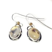Before Dawn-2 : Dendritic Agate Earrings, Gemstone And Silver Earrings, Agate Drop Earrings, Silver Earrings | Natural genuine Gemstone jewelry. Buy crystal jewelry, handmade handcrafted artisan jewelry for women.  Unique handmade gift ideas. #jewelry #beadedjewelry #beadedjewelry #gift #shopping #handmadejewelry #fashion #style #product #jewelry #affiliate #ad